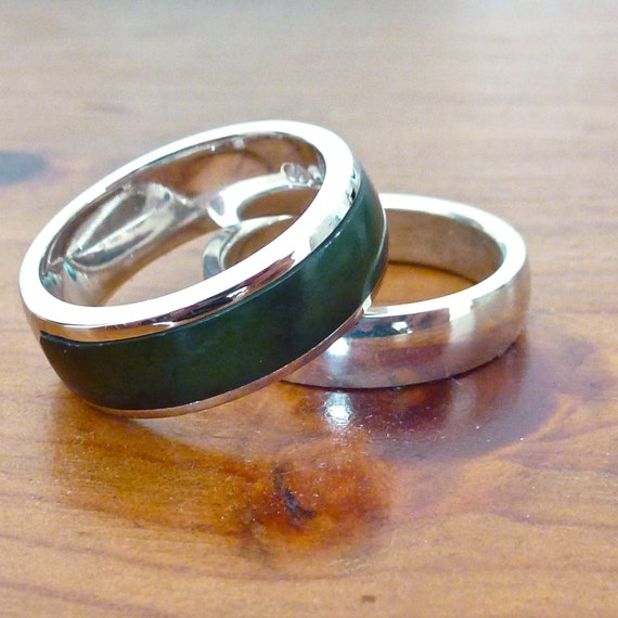 New Zealand Greenstone Inlaid Ring In White Gold Mens Etsy