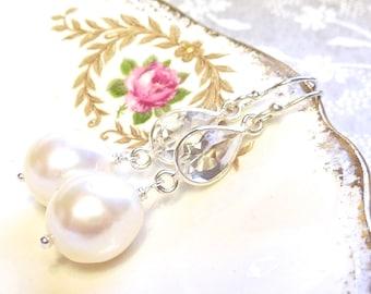 Quartz Crystal and Freshwater Pearl Vermeer Earrings in Sterling Silver