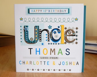 Uncle Birthday Card Special Personalised Happy Greeting For An