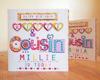 Personalised Birthday Card Special Niece Cousin