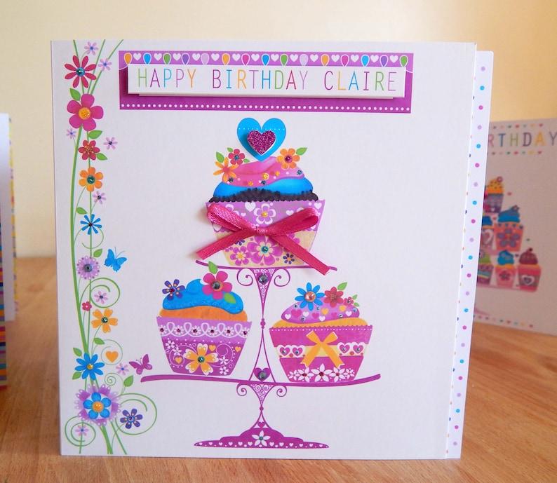 Birthday Girl Card Personalised Special Cupcake BIRTHDAY