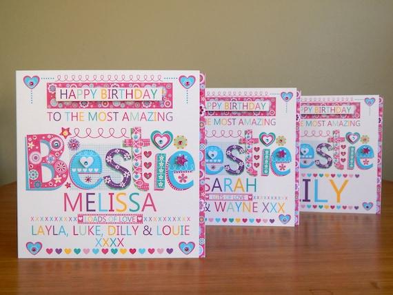BESTIE/_BEST MATE/_FRIEND PERSONALISED BIRTHDAY CARD Free 1st Class Post