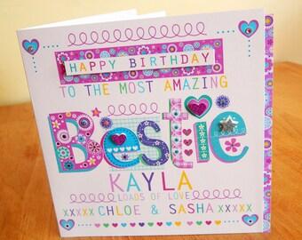 Bestie birthday card Best friend special friend birthday card BESTIE