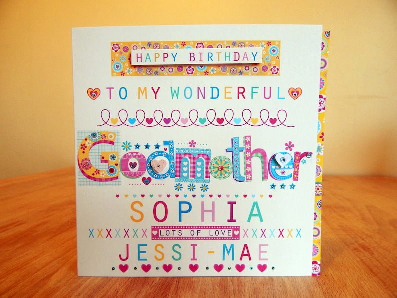 Godmother Godfather Birthday Card Personalised Or