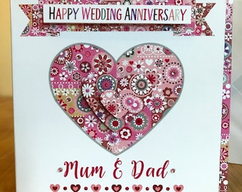 Wedding Anniversary special luxury personalised card for special couples Anniversary