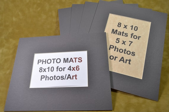 Photo Mats 5 Pack 8x10 Mats For 5x7 Or 4x6 Photos Charcoal Etsy