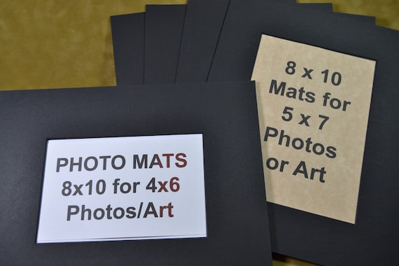 Photo Mats 5 Pack 8x10 Mats For 5x7 Or 4x6 Photos Black With Etsy