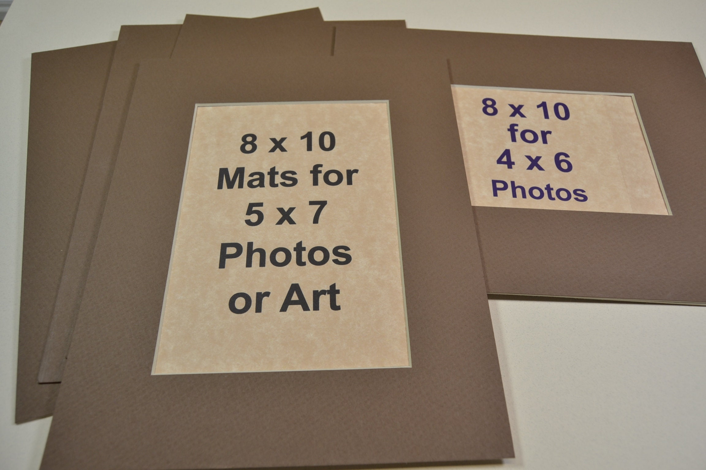 Photo Mats 5 Pack 8x10 Mats For 5x7 Or 4x6 Photos Cafe Mocha Etsy