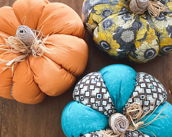 Featured listing image: Oversized Quilted Pumpkins - Set of 3