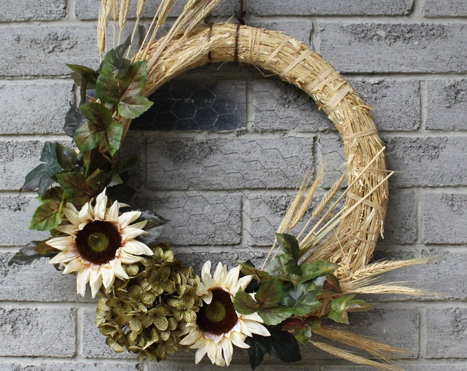Featured listing image: Sunflowers and Wheat Wreath
