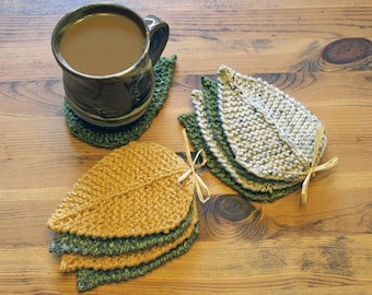 Hand-knit Leaf Coasters - Olive & Oatmeal (set of 4)