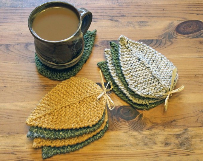 Featured listing image: Hand-knit Leaf Coasters - Olive & Oatmeal (set of 4)