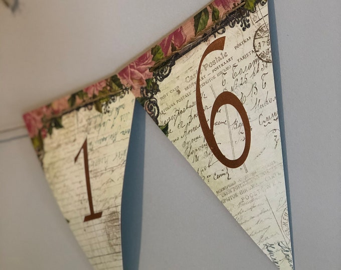 Bunting Cut File with Numbers 0-9 - Pennant Style