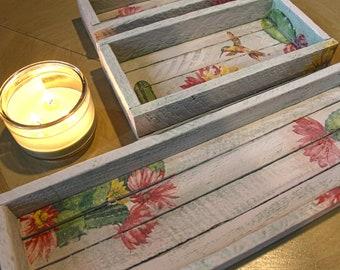 Cactus Flower Decorative Trays - Set of 3