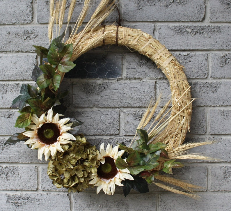 Sunflowers and Wheat Wreath image 0