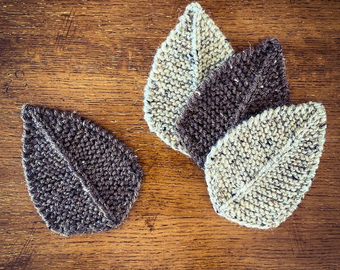 Hand Knit Leaf Coasters - Birch and Ash  (Set of 4)