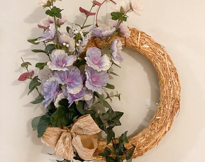 Hollyhocks in Summer - Wreath