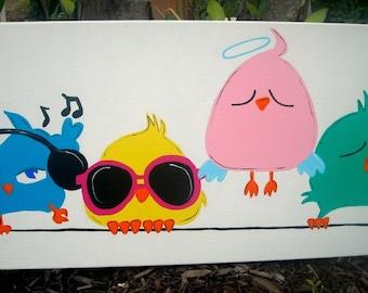 Canvas Art - Children's Room Decor - Birds of a Feather