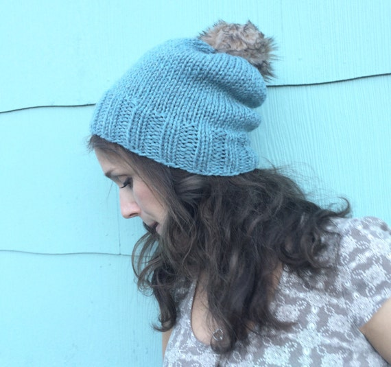 54954cec700 Light Blue Fur Pompom Slouchy Beanie Knit Blue PompomBeanie