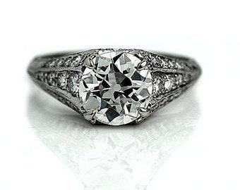 "Rare Vintage Engagement Ring, Vintage Diamond Ring, European Cut 1970's Platinum Ring AD202 GIA "" The Carlie"""