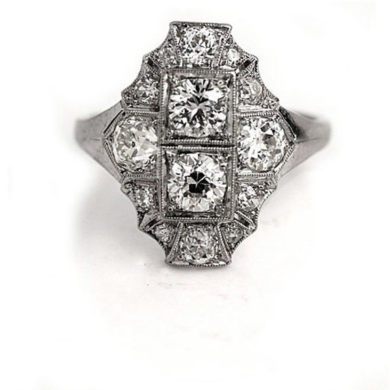 Antique Diamond Dinner Ring Art Deco Cocktail Rin… - image 5