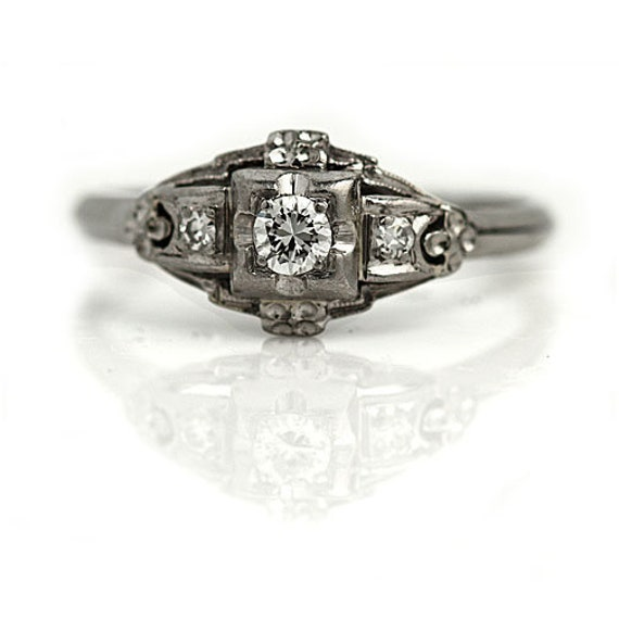 Art Deco Diamond Engagement Ring - Antique Art Dec