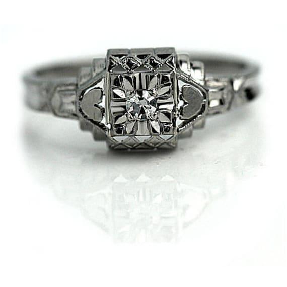 Art Deco Diamond Ring, White Gold Diamond Ring, Di