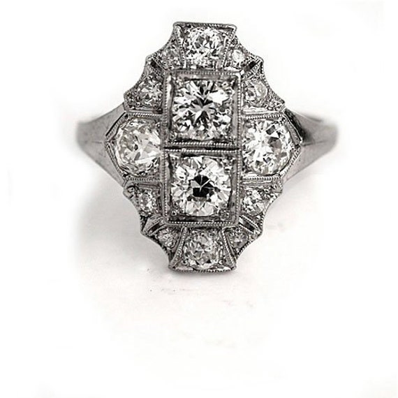 Antique Diamond Dinner Ring Art Deco Cocktail Rin… - image 1