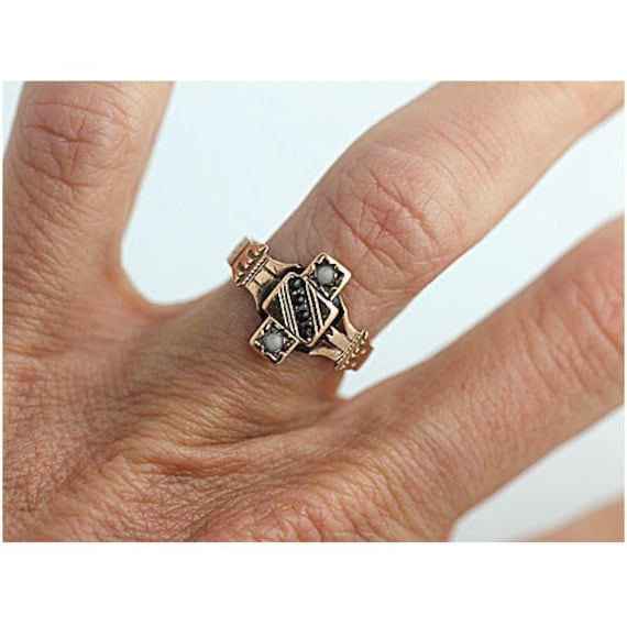Garnet Engagement Ring Victorian Engagement Ring … - image 2