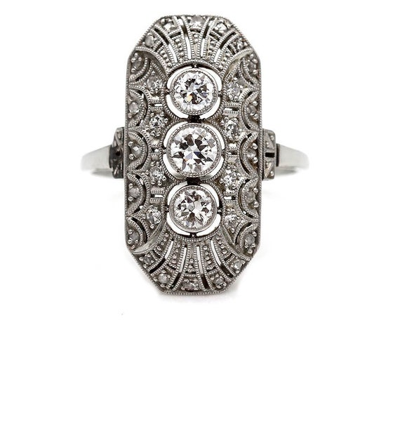 Art Deco Engagement Ring - Art Deco Diamond Ring -