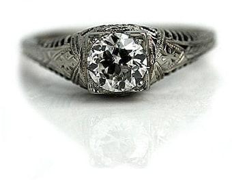 Vintage Art Deco Solitaire 0.95 European Cut Diamond 14k White Gold Engagement Ring Size 7