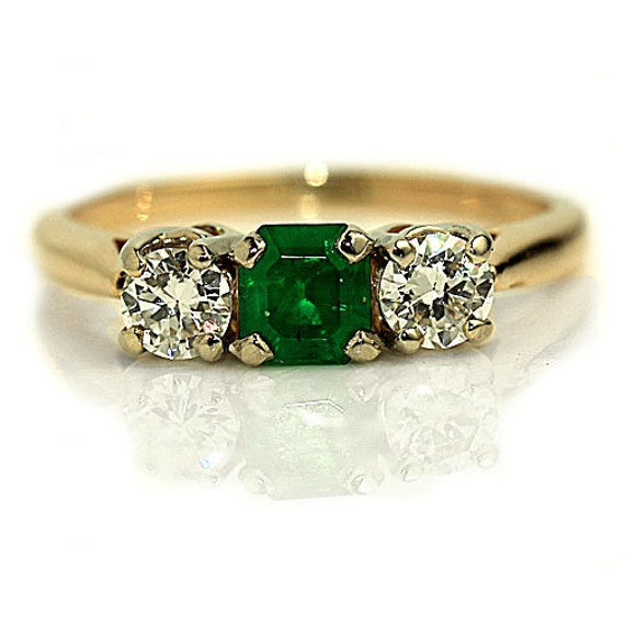 Vintage Emerald Engagement Ring Green Three Stone