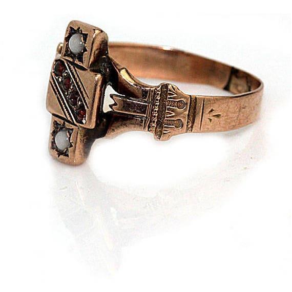 Garnet Engagement Ring Victorian Engagement Ring … - image 4