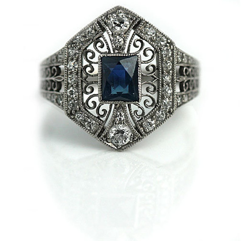a33f6ac092840 Tiffany Sapphire Engagement Ring Shades of Blue Art Deco Engagement Ring  Shop Vintage Platinum