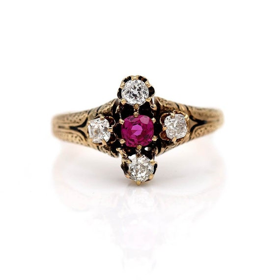 Antique Victorian Ruby Engagement Ring - image 1