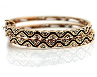 Vintage 14 Kt Gold Lapis and Diamond Bangle Bracelets Circa 1970s
