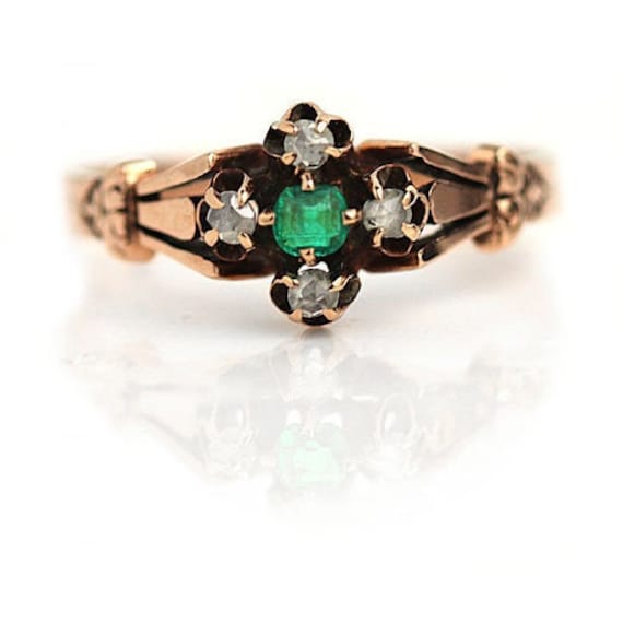 Victorian Antique Emerald Engagement Ring Vintage