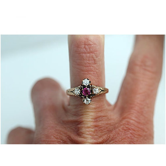 Antique Victorian Ruby Engagement Ring - image 4