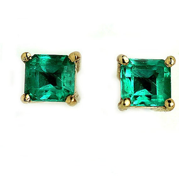 Vintage Emerald Earrings 14Kt Yellow Gold Green Em