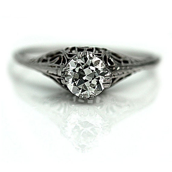 Art Deco Diamond Engagement Ring - GIA Antique Sol