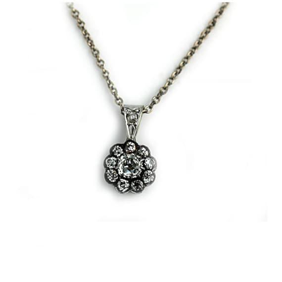 Vintage Diamond Pendant Antique Necklace 1.05ctw 18K White  8dcc9298b7