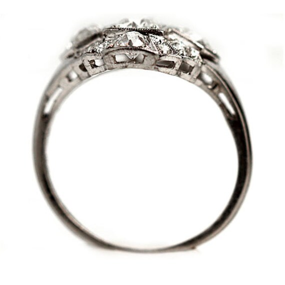 Antique Diamond Dinner Ring Art Deco Cocktail Rin… - image 3