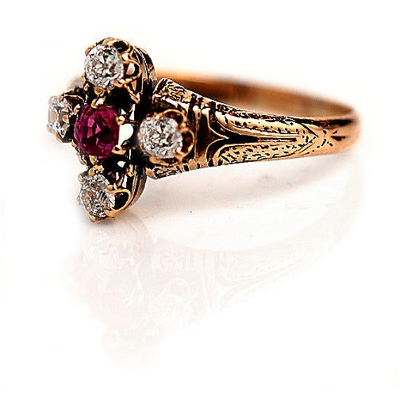 Antique Victorian Ruby Engagement Ring - image 2