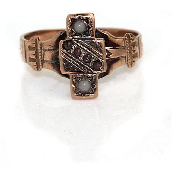 Garnet Engagement Ring Victorian Engagement Ring … - image 5
