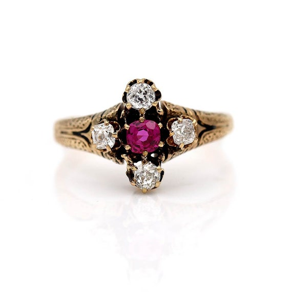 Antique Victorian Ruby Engagement Ring - image 5