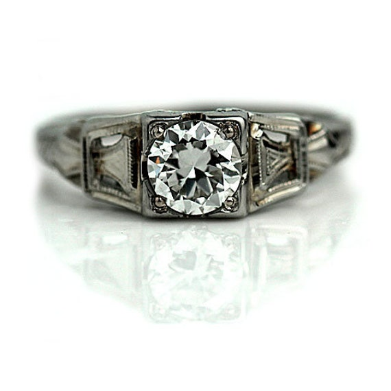 1930s Deco Engagement Art Deco Diamond Ring
