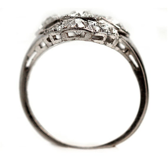 Antique Diamond Dinner Ring Art Deco Cocktail Rin… - image 7