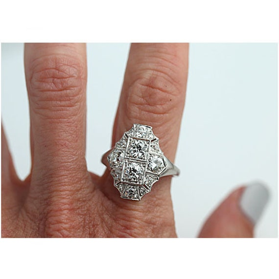 Antique Diamond Dinner Ring Art Deco Cocktail Rin… - image 8