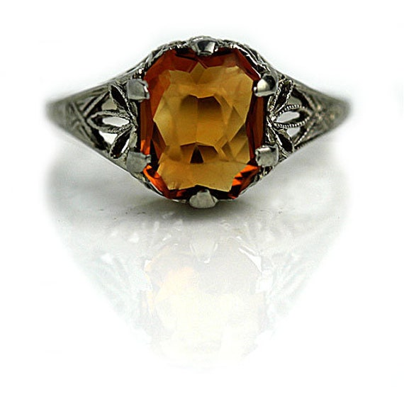 Art Deco Citrine Dress Ring