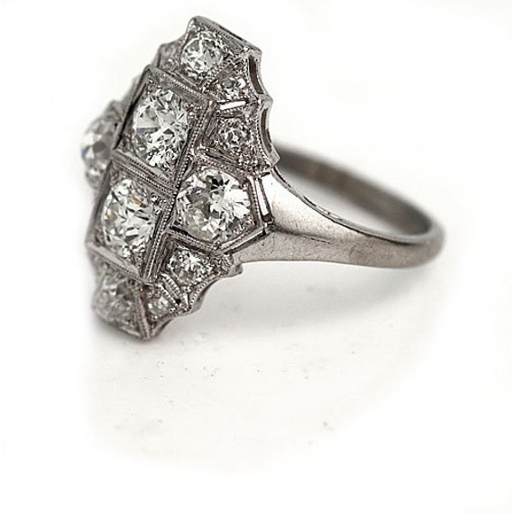 Antique Diamond Dinner Ring Art Deco Cocktail Rin… - image 2